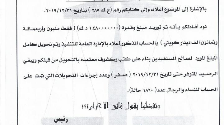 تقرير حساب رقم (1/2019) من مكتب الرقابة المالية
